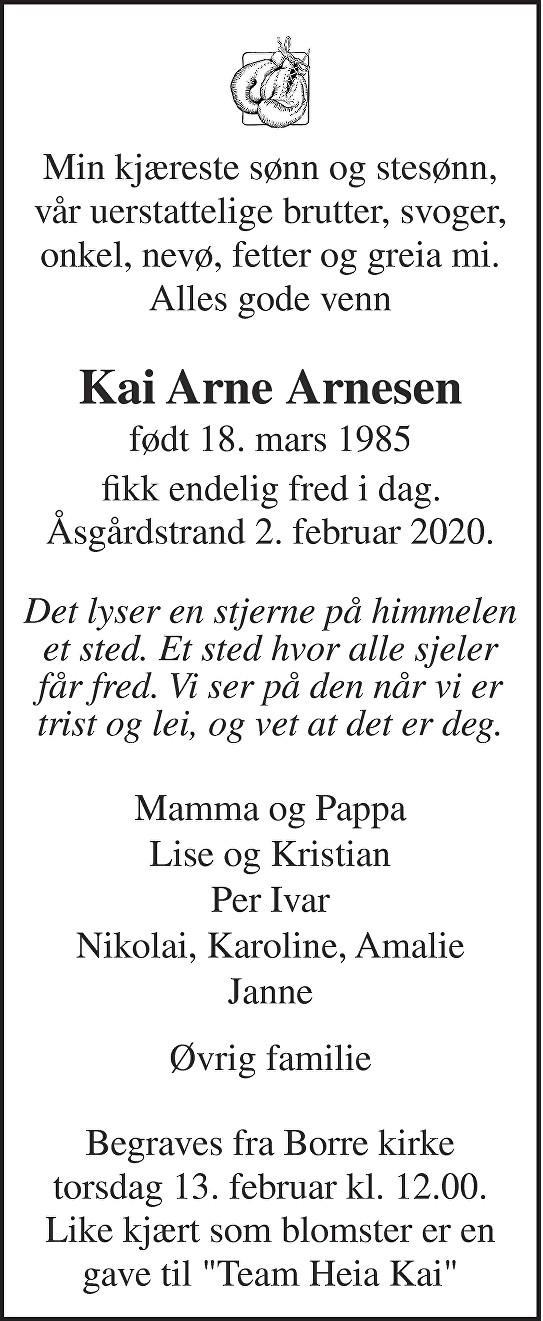 Kai Arne Arnesen Dødsannonse