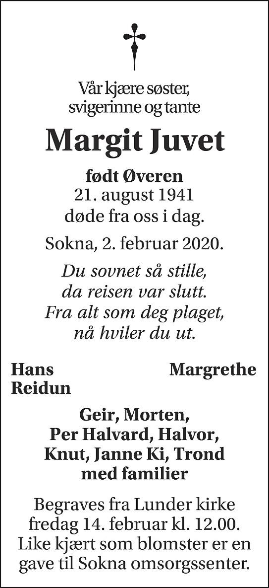 Margit Juvet Dødsannonse