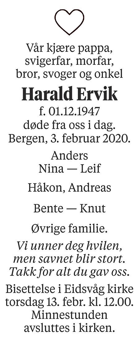 Harald Ervik Dødsannonse