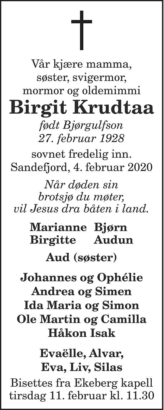 Birgit Krudtaa Dødsannonse