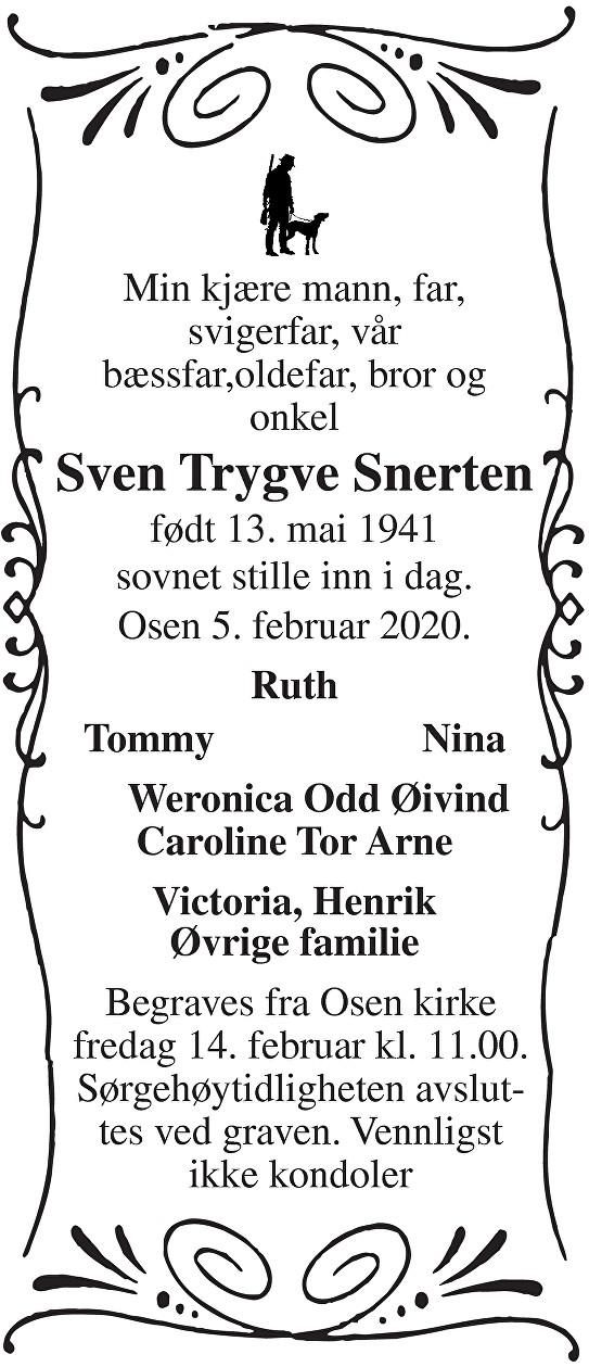 Sven Trygve Snerten Dødsannonse