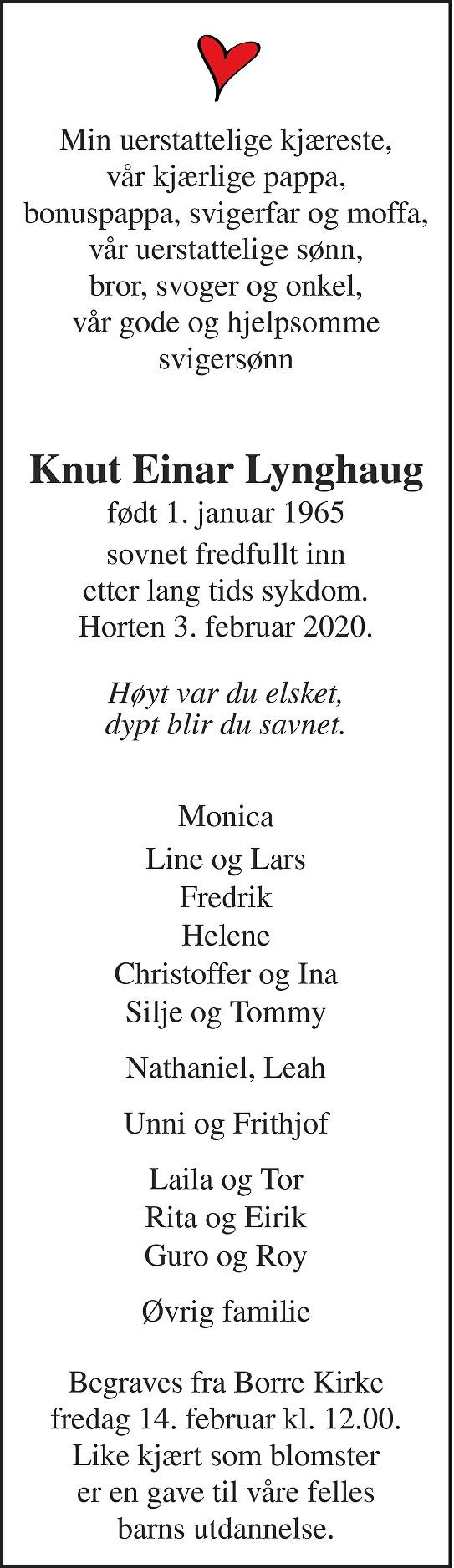 Knut Einar Lynghaug Dødsannonse