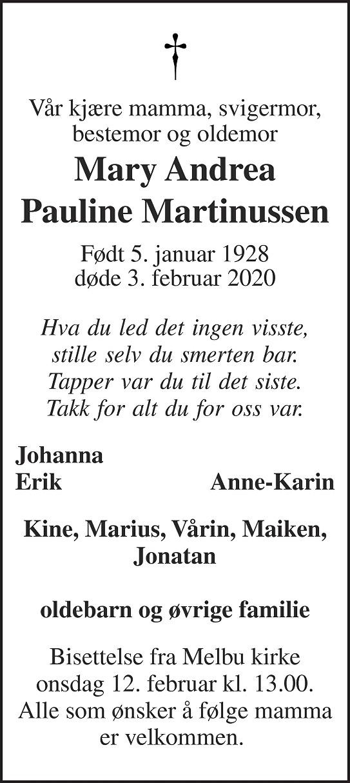 Mary Andrea Pauline Martinussen Dødsannonse