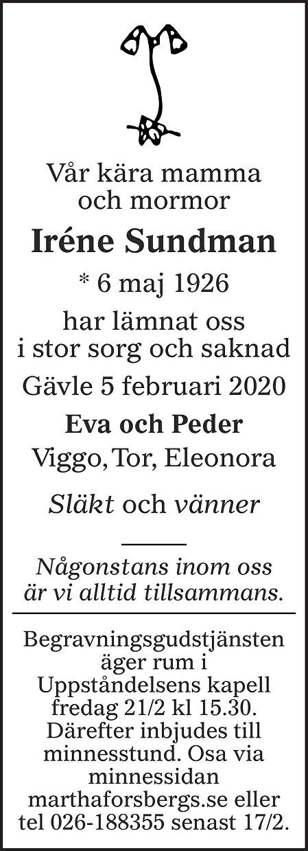 Iréne Sundman Death notice