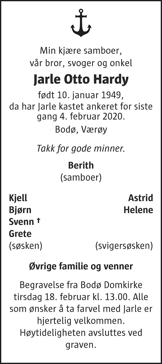 Jarle Otto Hardy Dødsannonse
