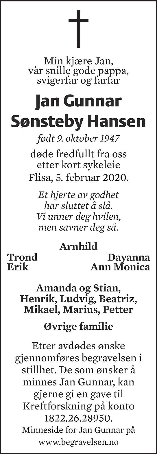 Jan Gunnar Sønsteby Hansen Dødsannonse