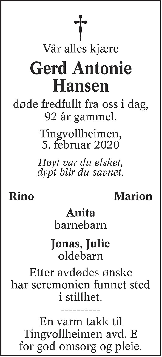 Gerd Antonie Hansen Dødsannonse