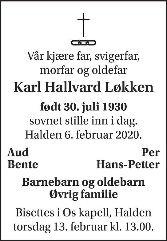 Karl Hallvard Løkken Dødsannonse