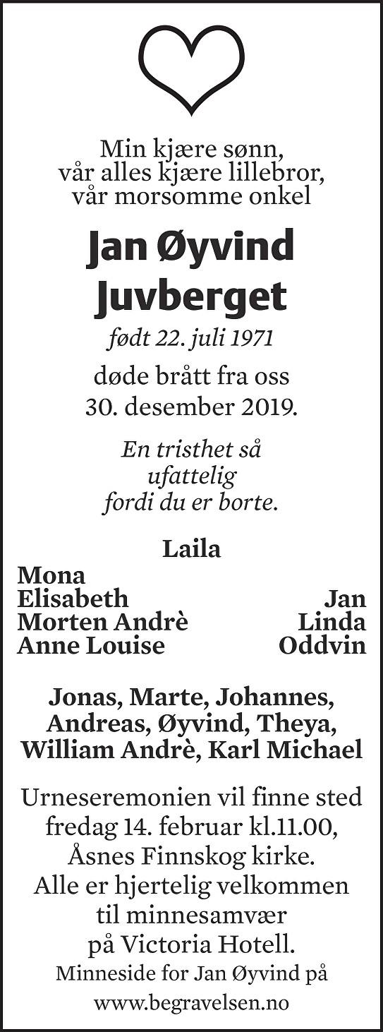 Jan Øyvind Juvberget Dødsannonse