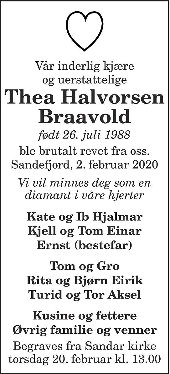 Thea Halvorsen Braavold Dødsannonse