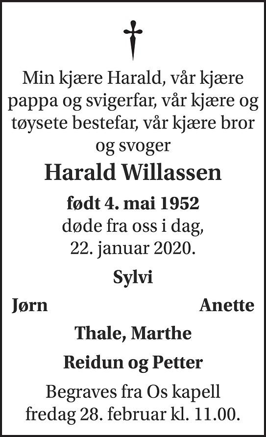 Harald Anton Willassen Dødsannonse