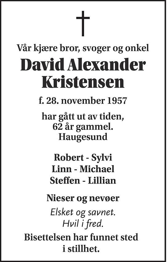 David Alexander Kristensen Dødsannonse