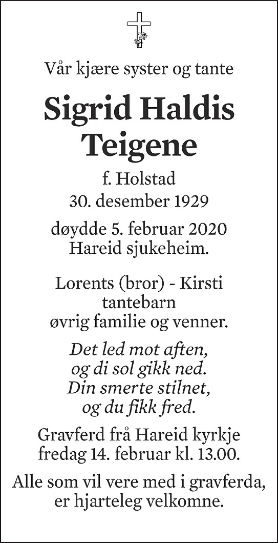 Sigrid Haldis Teigene Dødsannonse