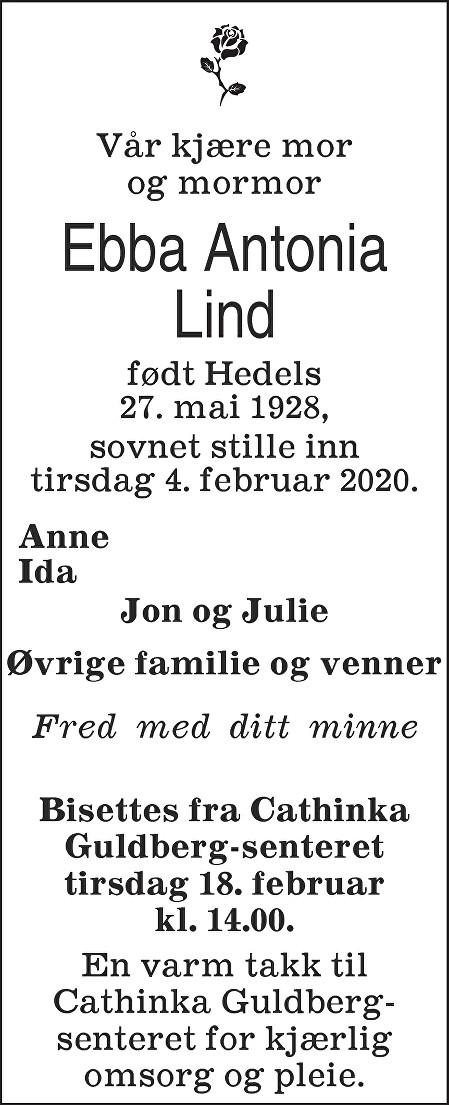 Ebba Antonia Lind Dødsannonse
