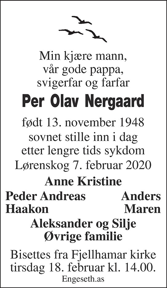 Per Olav Nergaard Dødsannonse