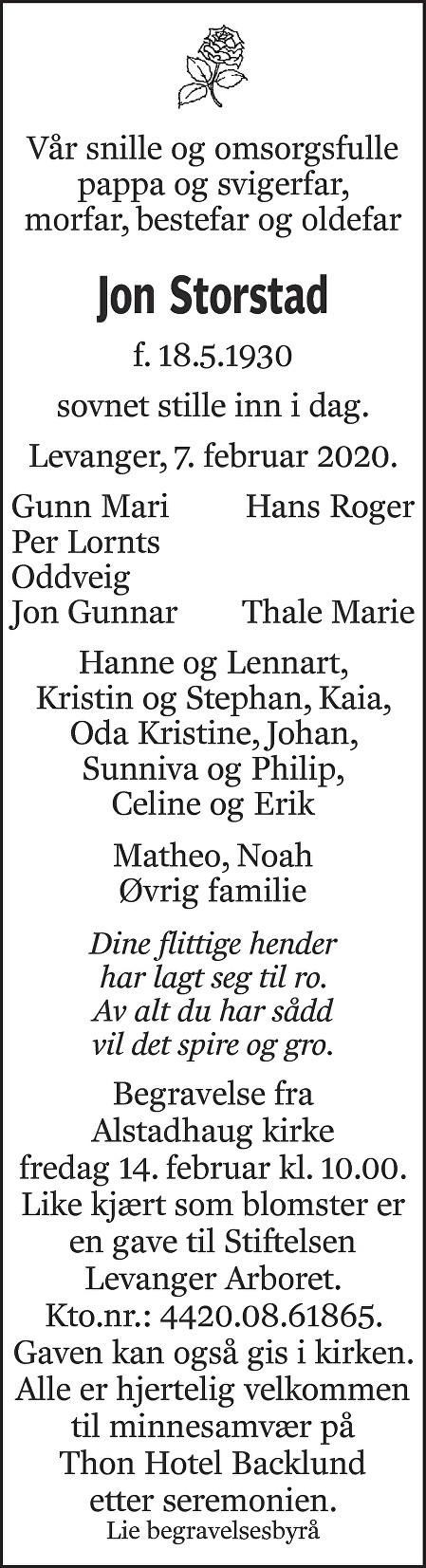 Jon Storstad Dødsannonse