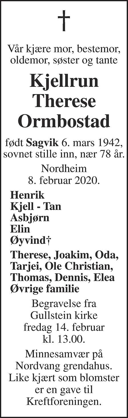 Kjellrun Ormbostad Dødsannonse