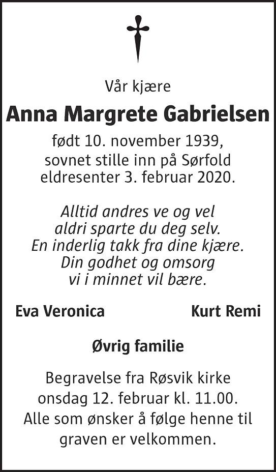 Anna Margrethe Gabrielsen Dødsannonse