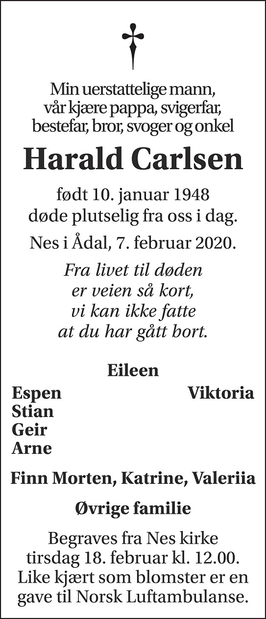 Harald Carlsen Dødsannonse