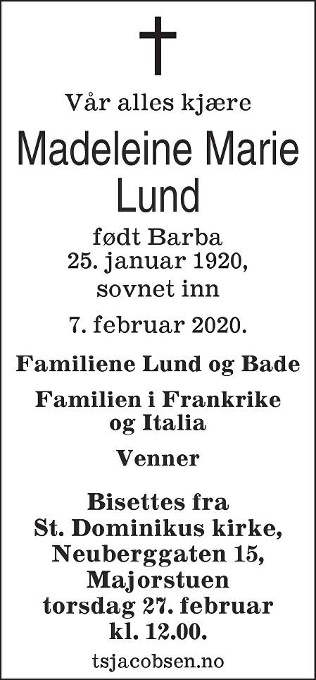 Madeleine Marie Lund Dødsannonse