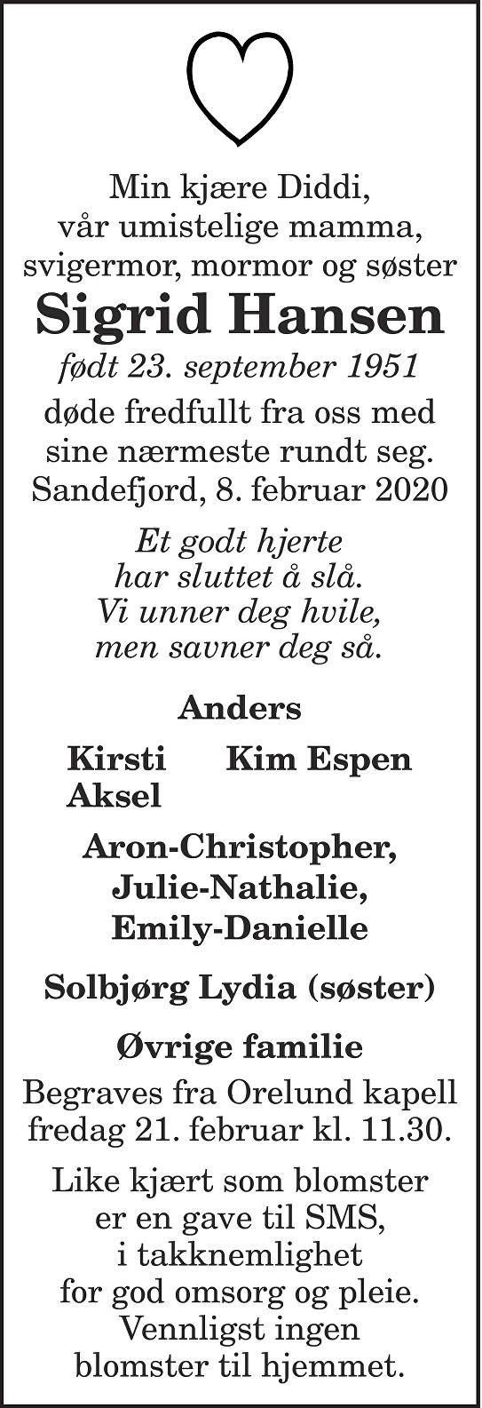 Sigrid Hansen Dødsannonse