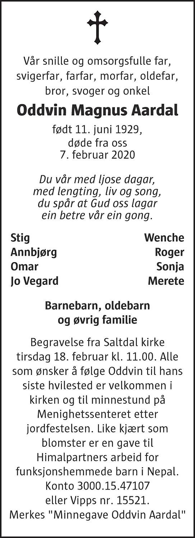 Oddvin Magnus Aardal Dødsannonse