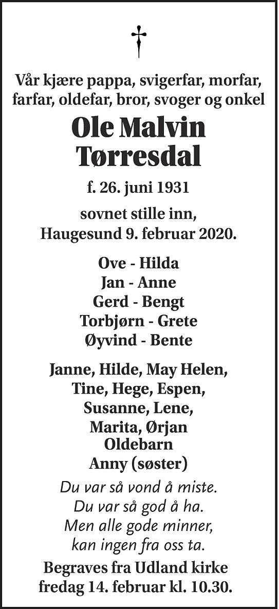 Ole Tørresdal Dødsannonse