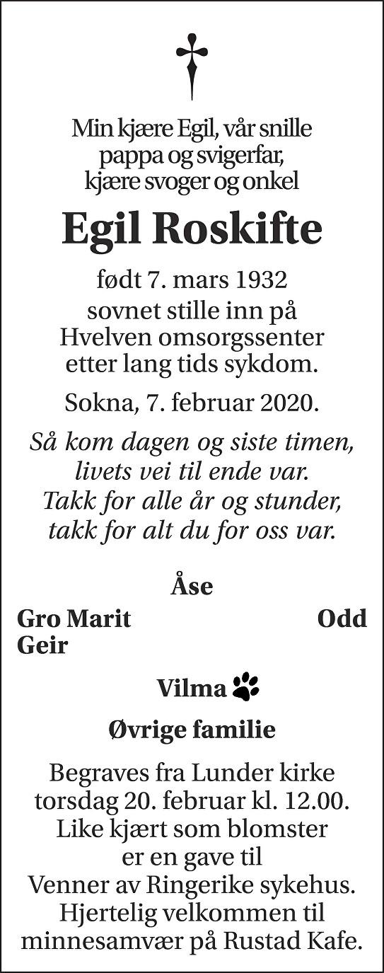 Egil Roskifte Dødsannonse