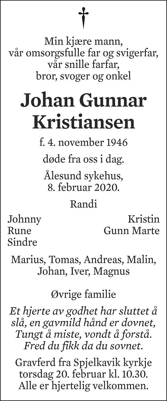 Johan Gunnar Kristiansen Dødsannonse