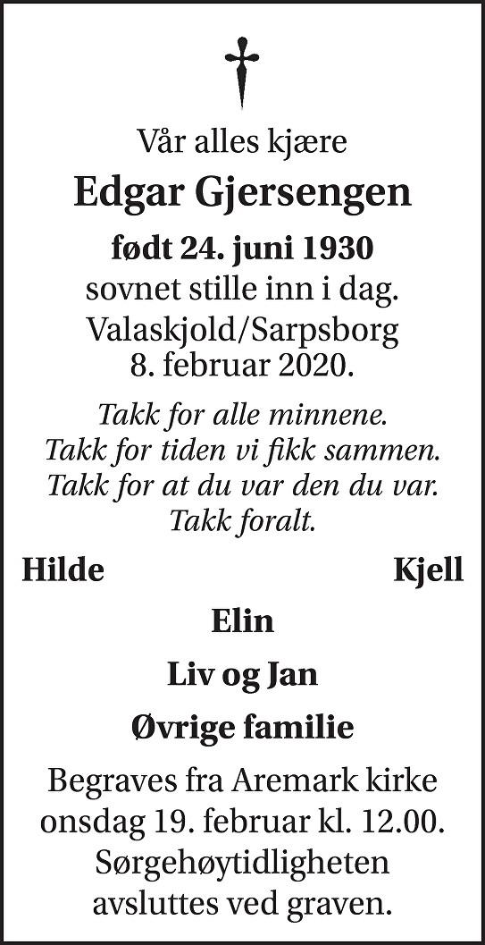 Edgar Torstein Gjersengen Dødsannonse