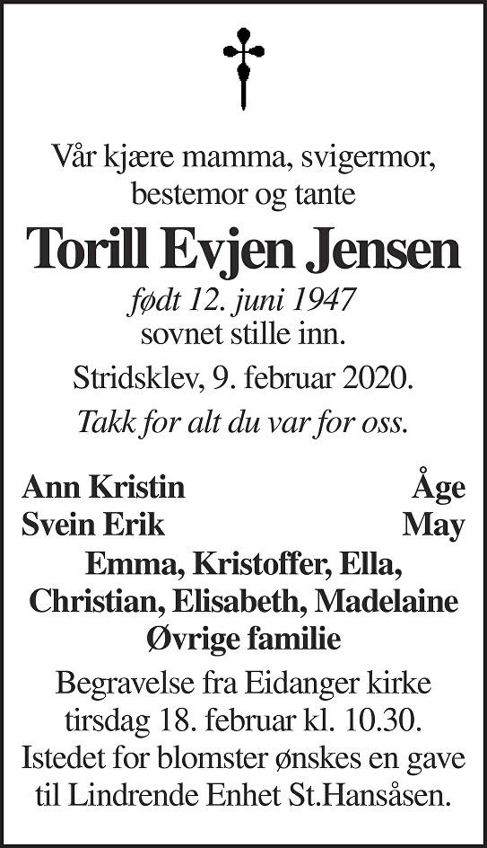 Torill Evjen Jensen Dødsannonse