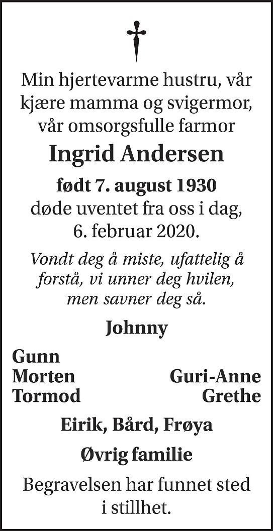 Ingrid Andersen Dødsannonse