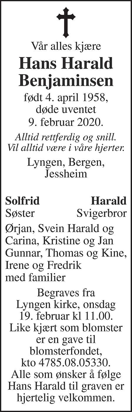 Hans Harald Benjaminsen Dødsannonse