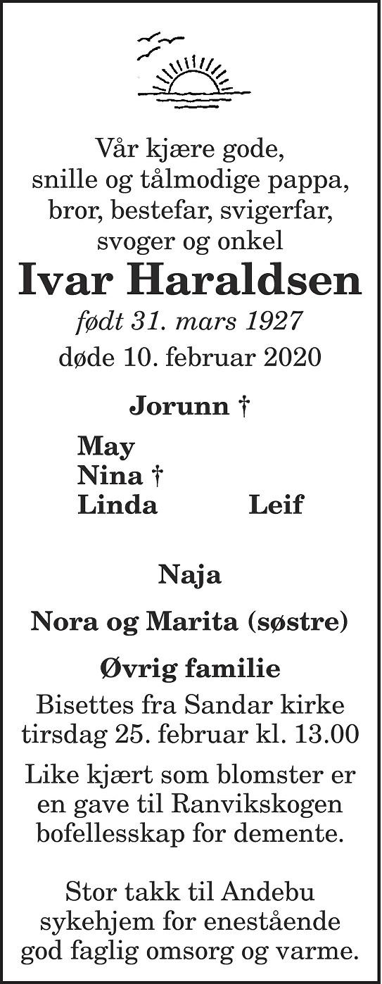 Ivar Haraldsen Dødsannonse