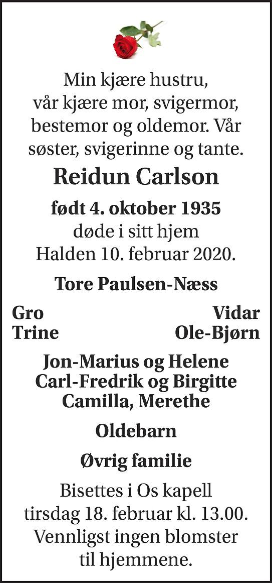 Reidun Carlson Dødsannonse