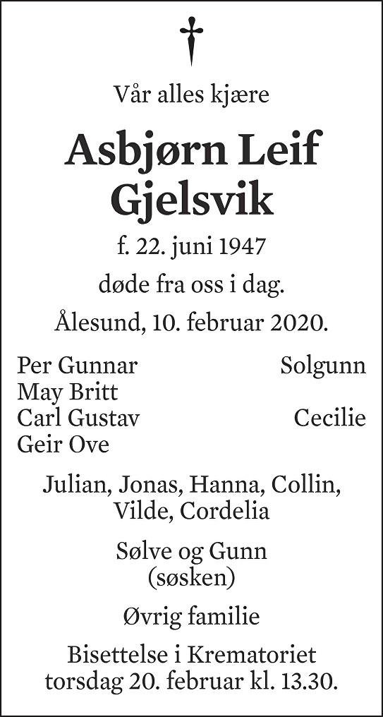 Asbjørn Leif Gjelsvik Dødsannonse