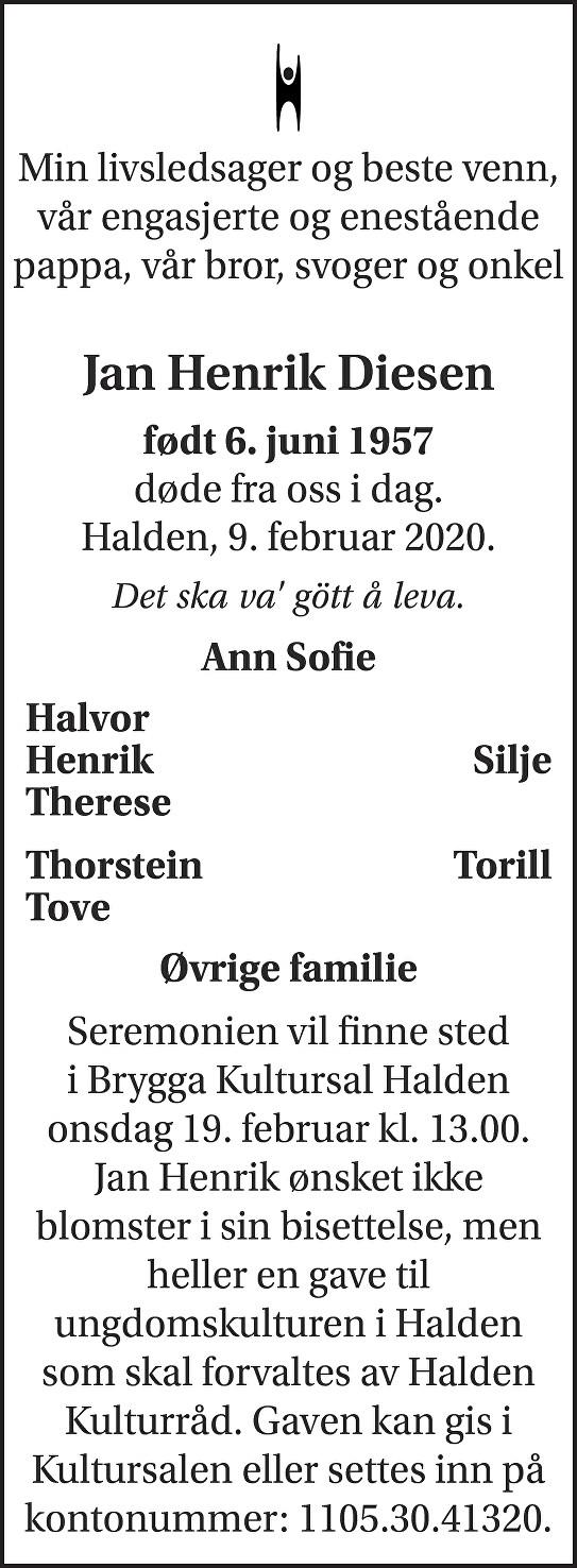 Jan Henrik Diesen Dødsannonse
