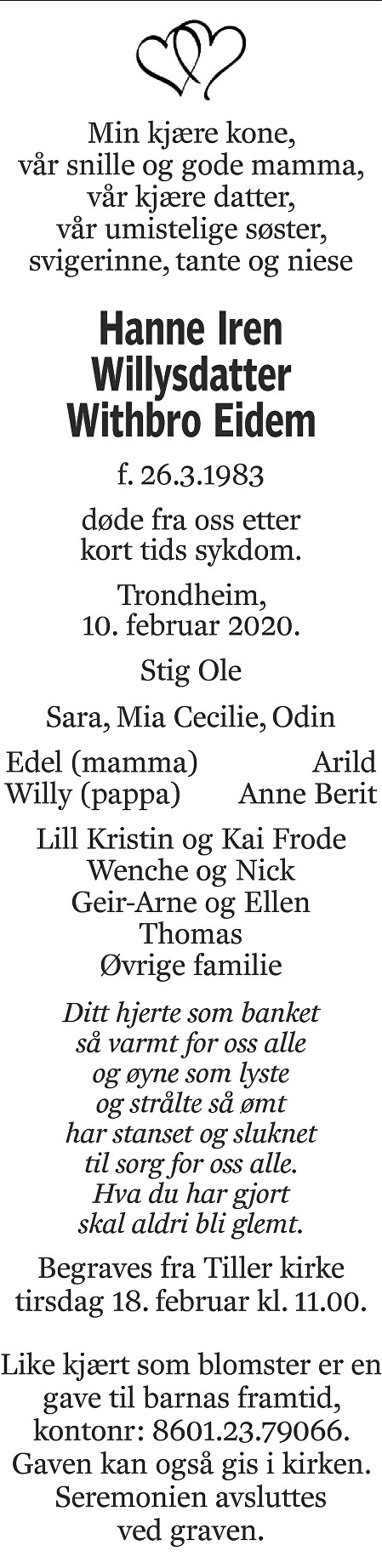 Hanne Iren Willysdatter Withbro Eidem Dødsannonse