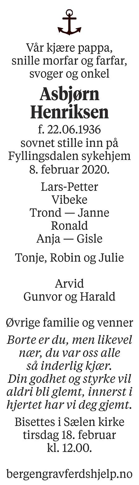Asbjørn  Henriksen Dødsannonse