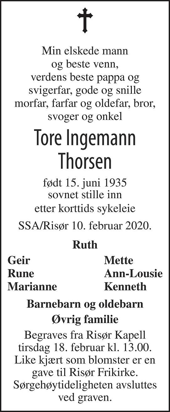 Tore Ingemann Thorsen Dødsannonse