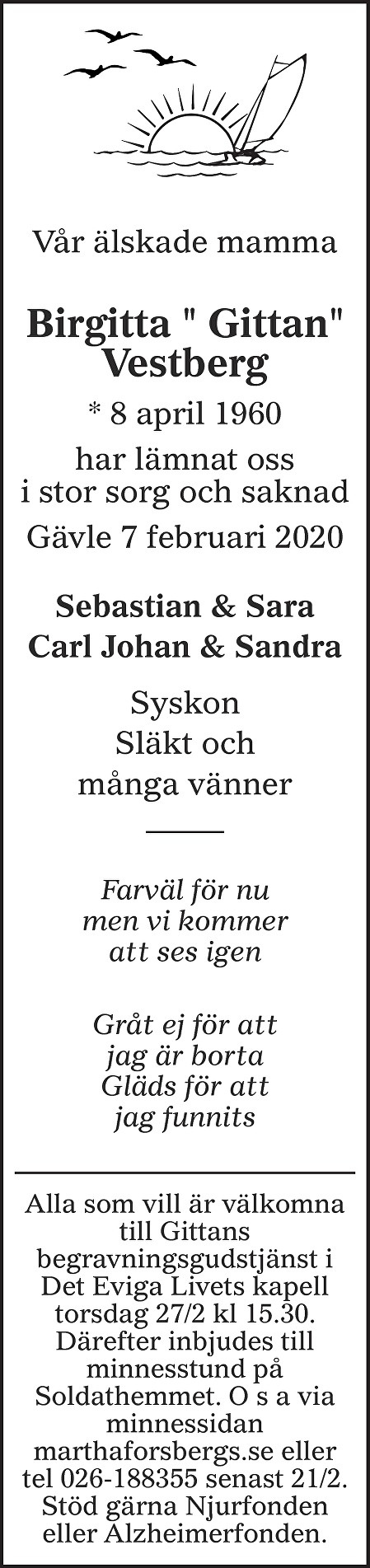 "Birgitta "" Gittan"" Vestberg Death notice"