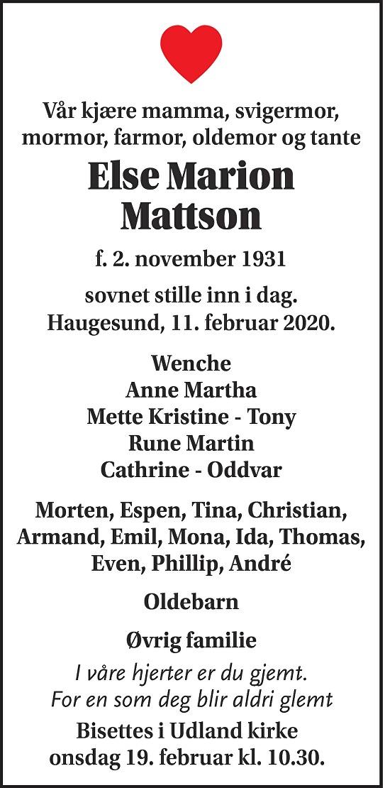 Else Marion Mattson Dødsannonse