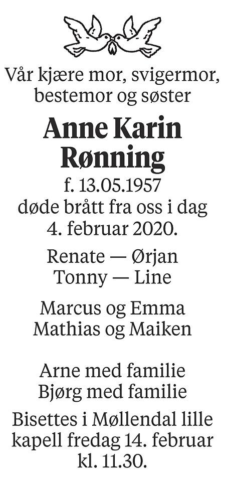 Anne Karin Rønning Dødsannonse