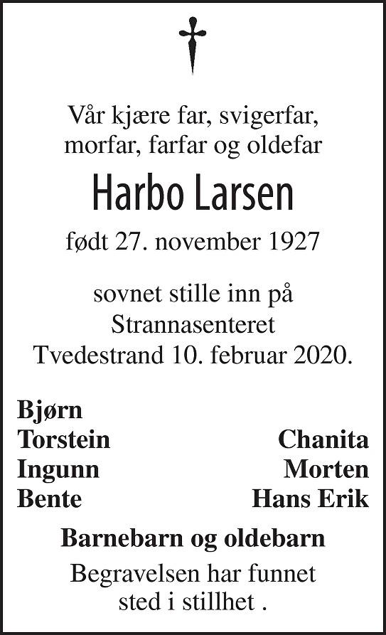 Harbo Larsen Dødsannonse
