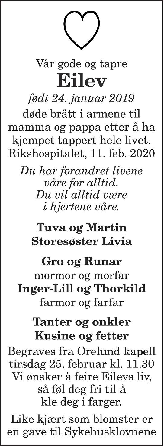 Eilev Leyser Jacobsen Dødsannonse