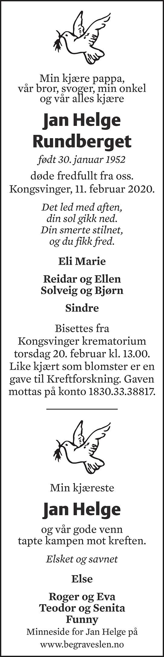 Jan Helge Rundberget Dødsannonse