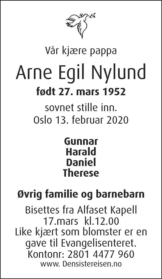 Arne Nylund Dødsannonse
