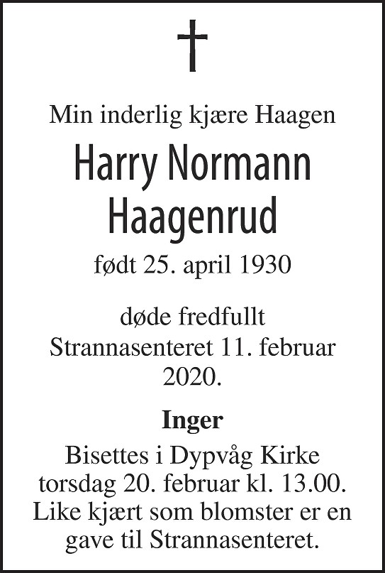 Harry Normann Haagenrud Dødsannonse