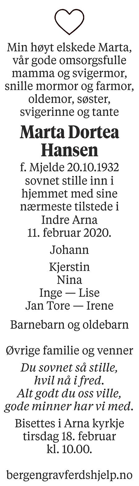 Marta Dortea  Hansen Dødsannonse
