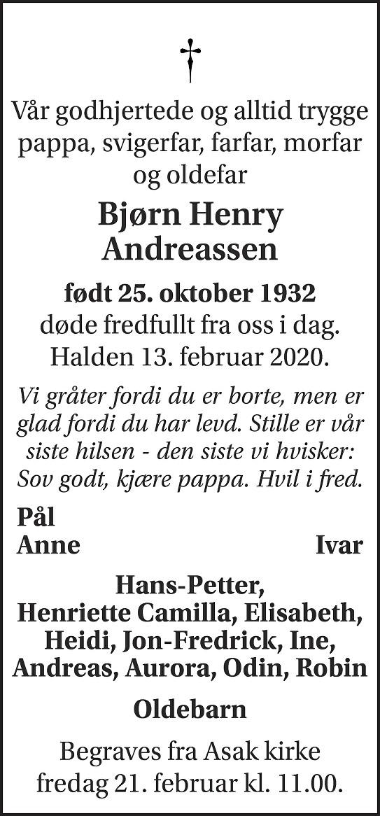 Bjørn Henry Andreassen Dødsannonse